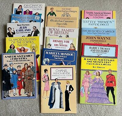 AU53.88 • Buy Lot Of 19 Tom Tierney Paper Dolls Book Dover Press, Chanel, Judy Garland......++