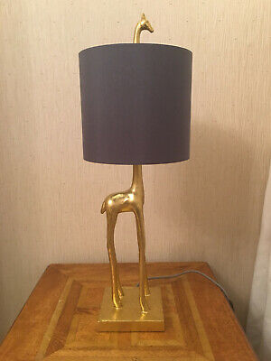 £59.95 • Buy Giraffe Table Lamp Gold Charcoal Grey Shade Art Deco Braided Grey Cable Gift