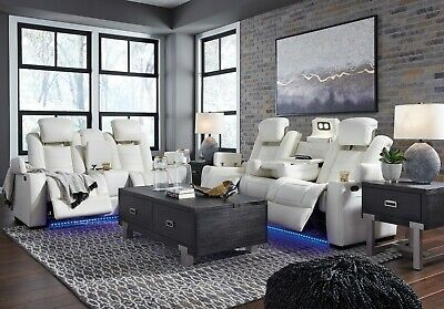 $2395 • Buy Ashley Furniture Party Time Power Recliner White Sofa And Loveseat Living Room