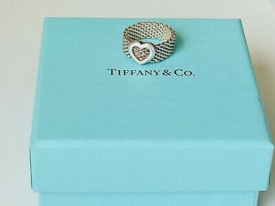 £130.69 • Buy Tiffany & Co Sterling Silver Heart Mesh Love Ring Size 5 And Boxed Rare Lovely