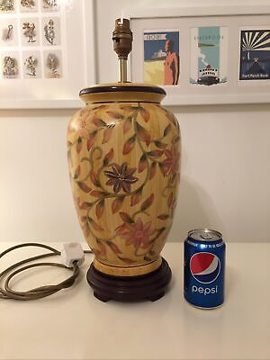 """£125 • Buy Large Chinese Hand Painted Table Lamp Base Vintage 18.""""5 Tall With Flowers"""