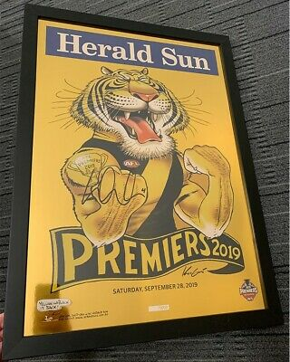 AU595 • Buy Richmond Afl 2019 Premiers Gold Poster Hand Signed Dustin Dusty Martin Framed