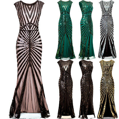 £26.99 • Buy Vintage 1920s Flapper Dress Great Gatsby PROM Party Sequin Maxi Fancy Costume UK