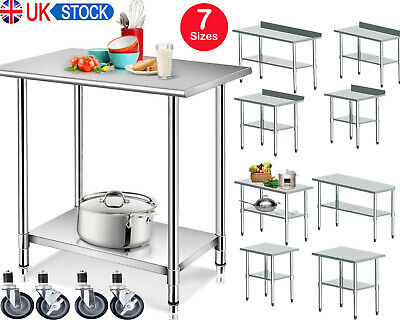 £91.99 • Buy Heavy Duty Commercial Prep Catering Table Work Bench Kitchen Top Stainless Steel