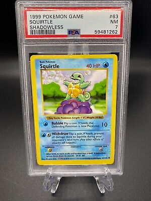 $69.99 • Buy Pokemon Cards 1999 Base Set Shadowless Squirtle 63/102 PSA 7 NM Near Mint