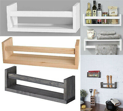 £13.95 • Buy Spice Rack Floating Wooden Shelves Wall Mounting Shelf Storage Display Book Unit