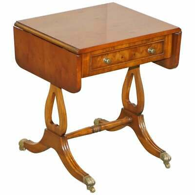 £675 • Buy Bevan Funnell Extending Burr Yew Wood Side Table Matching Coffee Table Available