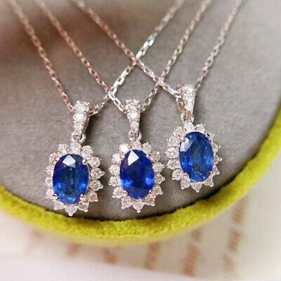 AU3.20 • Buy Fashion Sapphire Women Jewelry 925 Silver Necklaces Pendants For Girls