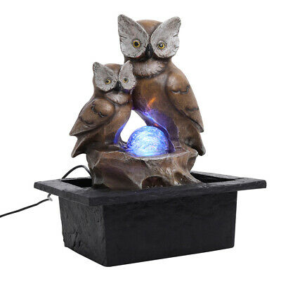 £21.95 • Buy Owl Water Feature Fountain Electric LED Rotating Ball Statue Garden Home Decor