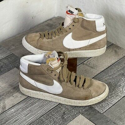 £19.95 • Buy Nike Blazer Mid Vintage Style Brown White Swoosh Suede High Tops Boots UK Size 5