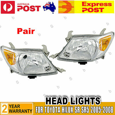 AU119.99 • Buy A Pair Of  LH+RH Head Light Front Lamp For Toyota Hilux Ute 2005~2008 2WD 4WD