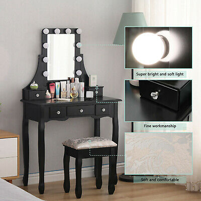 AU142.99 • Buy Dressing Table Stool Mirror Makeup Jewellery Cabinet Drawer With LED Bulbs AU