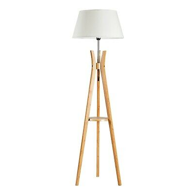 AU209 • Buy Bamboo Tripod Floor Lamp With White Shade And Shelf