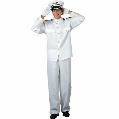 £22.99 • Buy Naval Officer Navy Army Captain Uniform Military Adults Mens Fancy Dress Costume