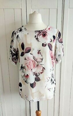 £12.99 • Buy Forever By Michael Gold White Floral Top Size Medium
