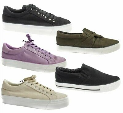 £6.99 • Buy Simply Be Canvas Shoes Ladies Wide Fit Trainers Casual Plimsolls Lace Flat Pumps