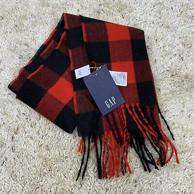£13.72 • Buy NEW Gap Scarf Buffalo Check Plaid, Red & Black, Fringe, Wide, Long, New W/ Tags