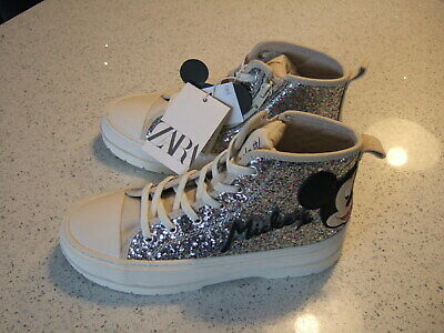 £14.99 • Buy  Zara Glitter Mickey Mouse Basket Ball Boots With Zips Size 2 (34) Bnwt