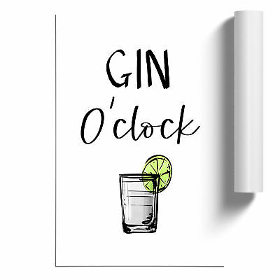 £14.95 • Buy Gin O'Clock Typography Poster Print Wall Art Unframed Picture