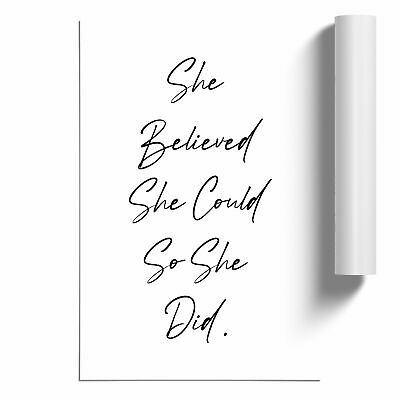 £14.95 • Buy She Believed Typography Poster Print Wall Art Unframed Picture