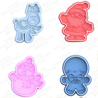 AU8.95 • Buy Christmas Cookie Cutter Characters Biscuit Fondant Baking Cake Embosser Set