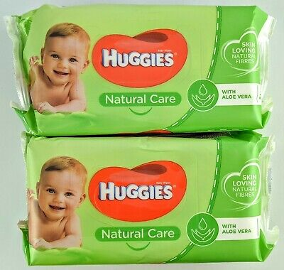 AU16 • Buy 2 X Huggies Natural Care 56 Baby Wipes  Aloe Vera Resealable Packet