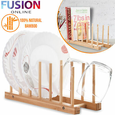 £6.99 • Buy Wooden Bamboo Plate Rack Dish Stand Holder Drying Dishes Cup Storage Kitchen