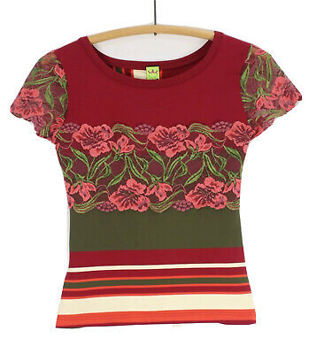 AU59.92 • Buy Save The Queen Top Short Sleeve Striped Floral Lace Stretch Size Medium M