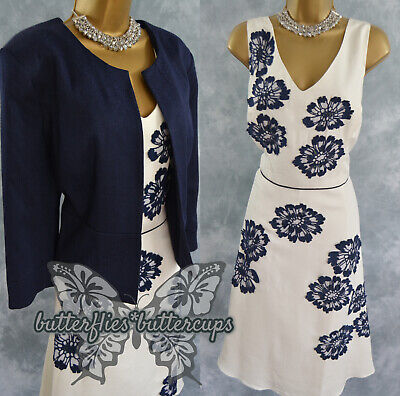 £84.99 • Buy ~ MONSOON & ROMAN ~ Size 18 - 20 Navy Ivory Dress And Jacket Mother Of The Bride