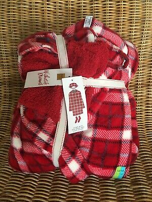 £14.60 • Buy New M&S Womens Red Fleece Dressing Gown Matching Cosy Socks & Eye Mask Christmas