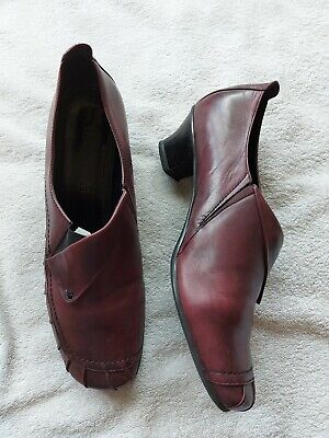 £4.99 • Buy Jana Ladies Burgundy Leather Shoes Size 8 H Wide