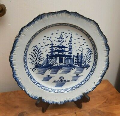 £58 • Buy Pearlware Plate Feather Shell Edge Pagoda Landscape C1790 Liverpool?