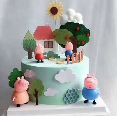 £6.25 • Buy Peppa Pig Stand Up Cake Toppers [ Include: Tree House And Peppa Family ]