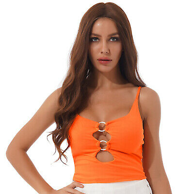 £1.65 • Buy Womens Crop Top Low-cut O Ring Keyhole Cami Vest Sleeveless Tops Sexy Clubwear