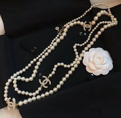 £145.49 • Buy W/Box Chanel Pearls Necklace CC LOGO Crystal White Long Necklace