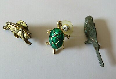 £1.99 • Buy Vintage Bird Insect And Animal Pin Badges Budgie Cricket And Tortoise