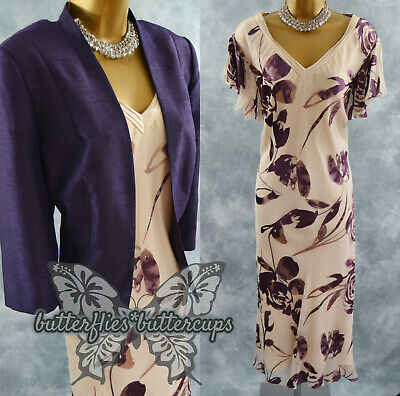 £89.99 • Buy ~ JACQUES VERT ~ Size 22 Silk Devore Dress And Jacket Suit Mother Of The Bride