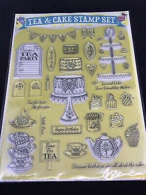 £4.99 • Buy Tea & Cake Large Clear Stamp Set - Stand Invite Time For Tea Cups Bunting Eat Me