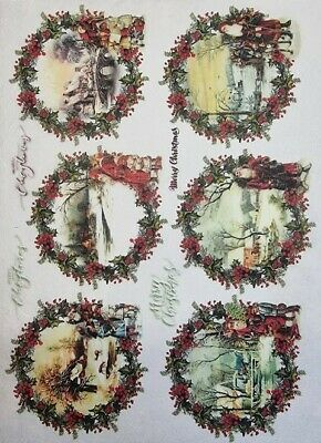 £1.99 • Buy Rice Paper For Decoupage Scrapbook Craft Winter Picture Wreath 205
