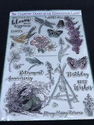 £4.99 • Buy Country Diary Of An Edwardian Lady Large Clear Stamp Set - Birds Flowers Phrases