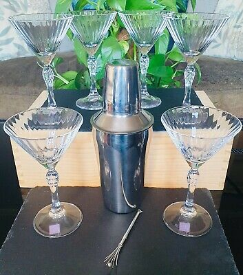 """£40 • Buy 6 Art Deco """"nick & Nora"""" Cocktail Glasses/cocktail Shaker &silver Swizzle Stick"""