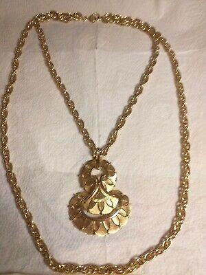 £15 • Buy Vintage Double Chain+fancy Pendant Inc Textured Finish By Crown Trifari,28  Long