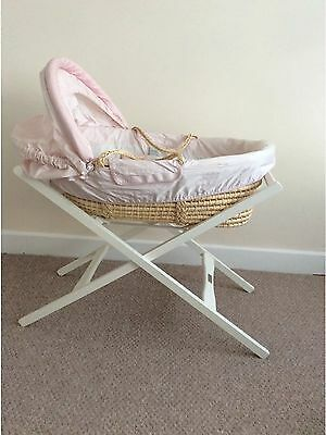 £49.99 • Buy Mamas & Papas Girls Deluxe Pink & White Moses Basket With Stand RRP £475 VGC