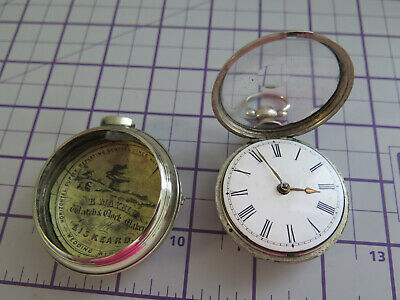 £145 • Buy Verge / Fusee Pocket Watch For Parts - Spares And Or Repairs - Pair Cased - 55mm