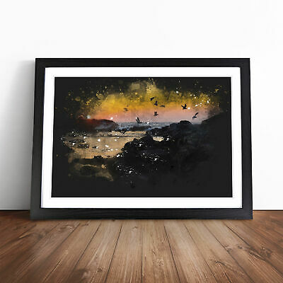 £18.95 • Buy Sunset At The Beach In Spain Paint Splash Wall Art Framed Print Picture