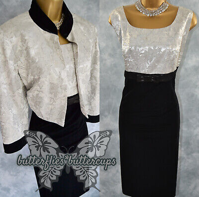 £59.99 • Buy ~ ROMAN ~ Size 16 - 18 Black Silver Dress And Jacket Suit Mother Of The Bride