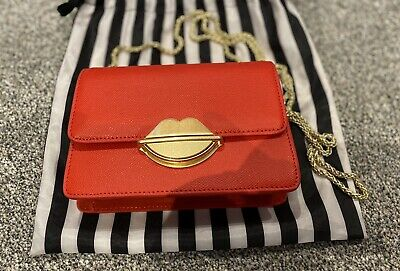 £30 • Buy Lulu Guinness Red Cross Bag With Gold Lips Clasp - New