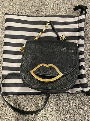 £24.80 • Buy Black Grainy Leather Lulu Guinness Cut Out Lip Small Crossbody Bag