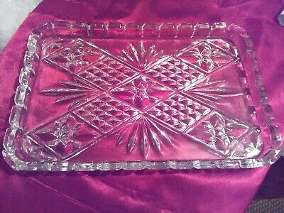 £12 • Buy Vintage Clear Cut Glass Dressing Table Oblong Vanity Tray .
