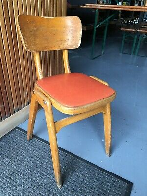 £23 • Buy Vintage Wooden School Chairs With Red Vinyl Seats